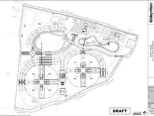 The shows the current Murfreesboro city plan for a Backman Park off Blackman, Burnt Knob and Vaughn roads, Veterans Parkway and Interstate 840. The plan includes eight ball diamonds, playground, splash pad, picnic pavilions, walking trail, multipurpose field, multipurpose courts for basketball, tennis and other sports, an an amphitheater with a stage.