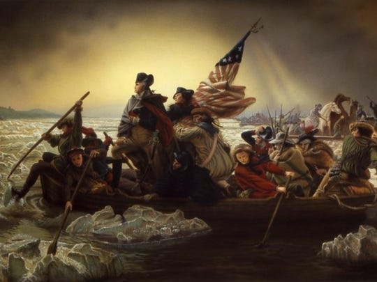 A painting of George Washington crossing the Delaware River.