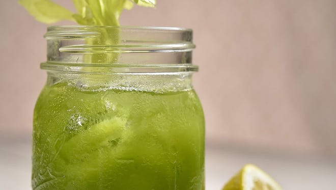 Celery Greens juice blends celery, romaine lettuce, parsley and kale with lemon.