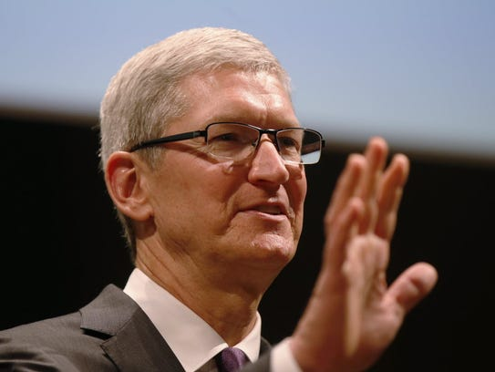 Apple CEO Tim Cook attends the inauguration of the
