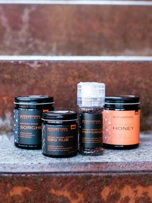 Copper & Kings' line of Butchertown Provisions includes a barbecue rub, hone, sorghum and peppercorns.