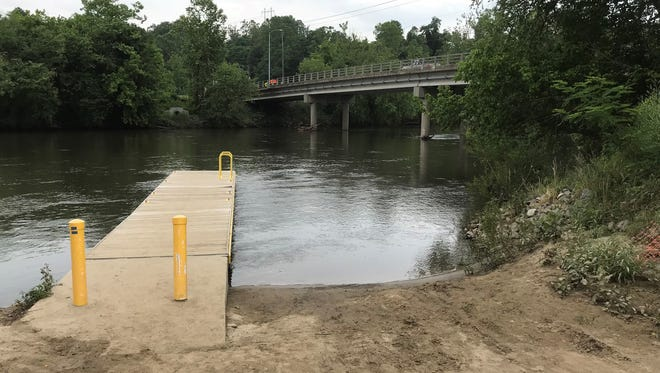 The Craven Street bridge is seen Monday in this view from a state boat ramp just upstream.