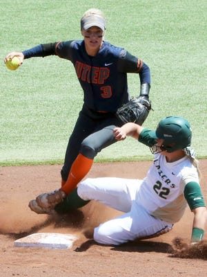 UTEP second base infielder Courtney Clayton, 3, forces an out on UAB's Ashley Johnson Sunday at Helen of Troy Field.