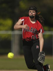 Pulaski's Elizabeth Pautz fires a pitch against Green Bay Southwest at John Muir Park in Green Bay on May 19. Pautz has a 0.33 ERA this season.