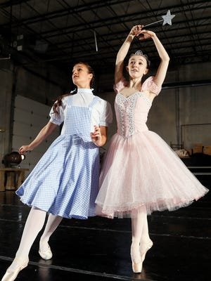 """Jacque LeWarne, left, and Eleanor Albaugh rehearse for """"The Wizard of Oz"""" at the Ballet Des Moines studio in Valley Junction. The show hits the Des Moines Civic Center on April 4."""