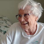 This May 19, 2010 photo provided by Penny Weaver shows author Nelle Harper Lee in her assisted living room in Monroeville, Ala.