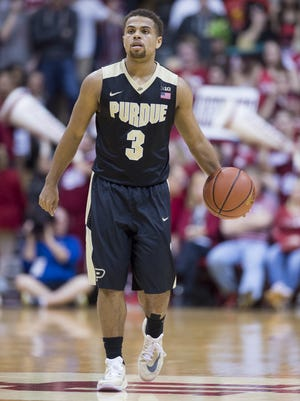 Purdue Boilermakers guard P.J. Thompson (3) brings the ball up court during an NCAA men's college basketball game at Indiana University's Assembly Hall in Bloomington, Ind., Saturday, Feb. 20, 2016. IU won, 77-73.