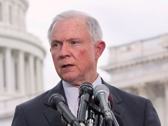 Sen. Jeff Sessions, R-Ala., speaks on Capitol Hill.