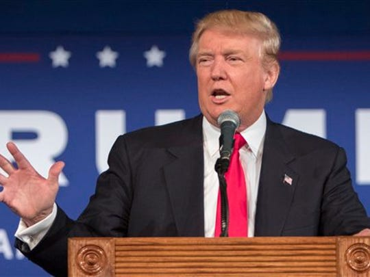 FILE - In this July 21, 2015 file photo, Republican presidential candidate Donald Trump speaks in Bluffton, S.C. Trump's recent poll results earned him a place in the first prime time Republican presidential debate, Thursday.