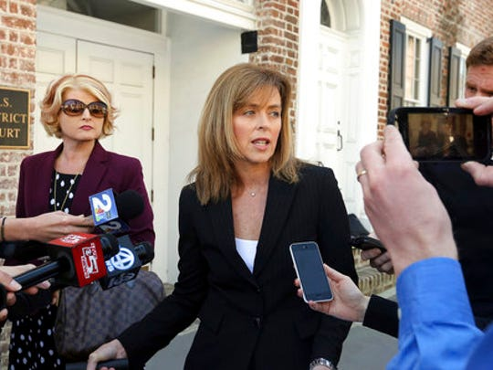 Joey Meek's attorney, Deborah Barbier of Columbia, S.C. talks to the media Tuesday, March 21, 2017, after her client was sentenced to 27 months for telling others not to report Dylann Roof in Emanuel AME Church shooting.