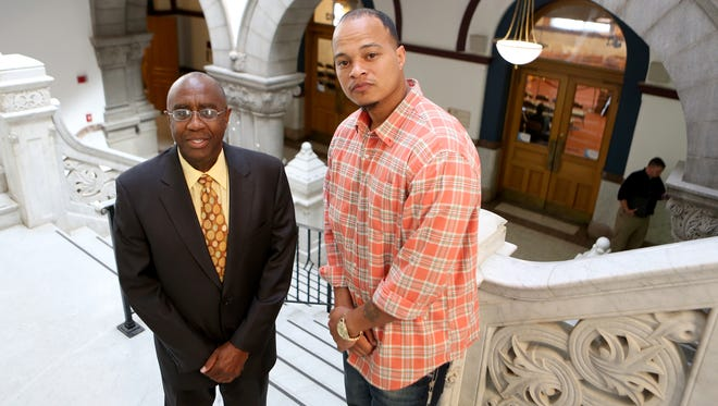 Councilman Charlie Winburn (left) with Michael Hampton, who has been looking for a job since 2010. Hampton has a misdemeanor charge of marijuana possession but no felonies which makes finding employment a task. Hampton graduated from Lincoln Technical Institute with honors and a medical assistant degree.