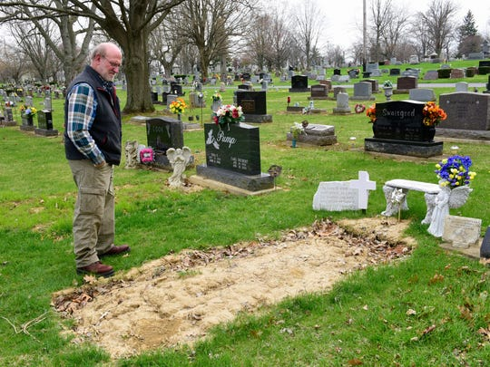 Paul Silcox of Fremont visits the grave of his son, Joey Silcox, who was 25 when he died of a drug overdose on Nov. 12, 2016.