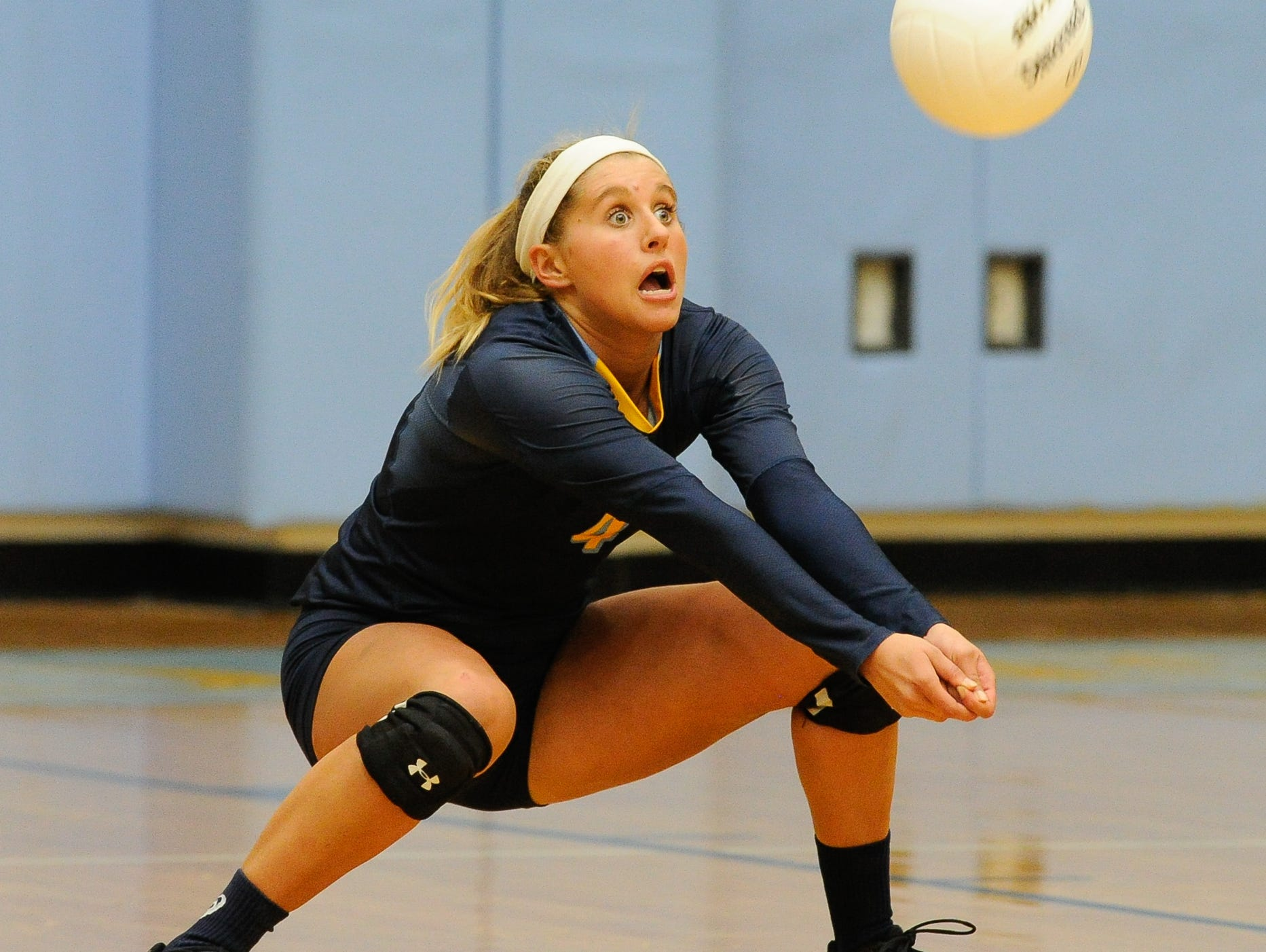 Cape's #4 Kira Vitella with a bump set in the third game against Conrad Thursday night at Cape Henlopen High School.