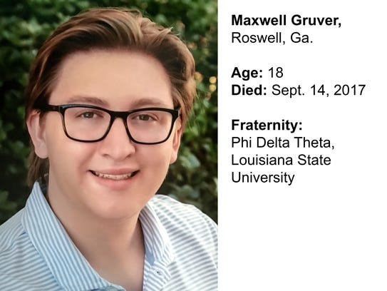 Maxwell Gruver, 18, of Roswell, Ga., died of alcohol
