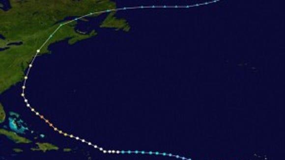 Track of Hurricane Gloria