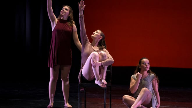 """NMSU students perform the dance piece titled """"Quid Sit Versu Tibi?"""" choreographed by senior dance major Carley Casey during the dance program's Entwined Philosophies show at the Center for The Arts."""