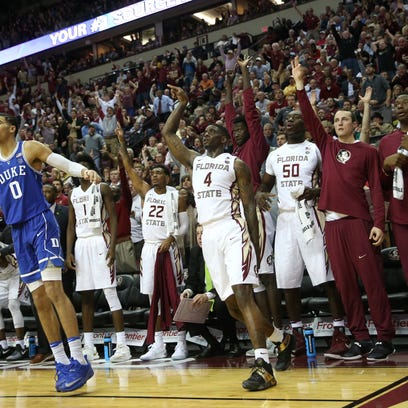 FSU's Dwayne Bacon watches his 3-point shot against