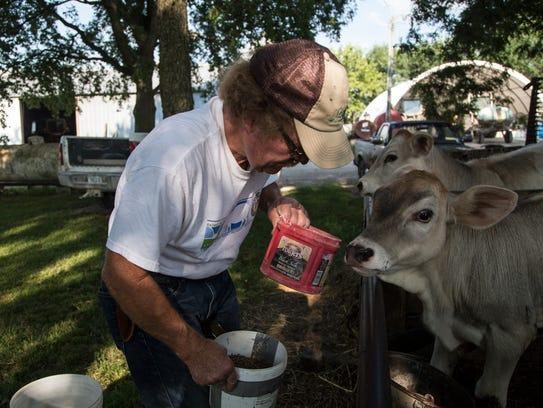 John W. Gilbert feeds calves on his family's farm,