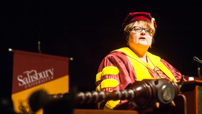Salisbury University President Janet Dudley-Eshbach gives her welcoming address during the 2014 Salisbury University Commencement at the Wicomico County Youth & Civic Center.