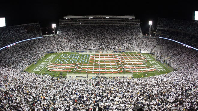 State College, PA - 11/05/2016:  The Blue Band honors veterans with its halftime performance forming a huge American flag on the field. Penn State defeated Iowa by a score of 41-14 on Saturday, November 5, 2016, at Beaver Stadium in University Park, PA.Photos by Joe Rokita / JoeRokita.com