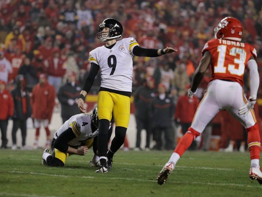 Boswell kicks Steelers past Chiefs, into AFC title game