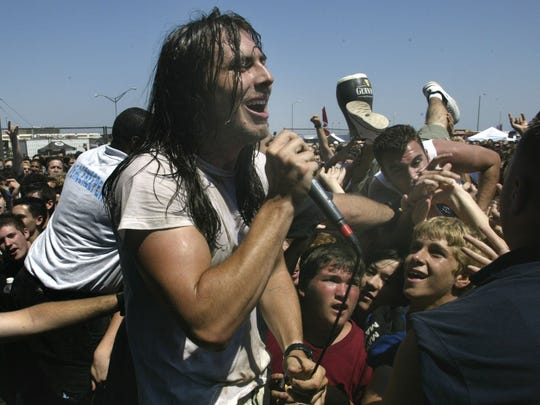Andrew W.K., pictured performing at the Warped Tour in Asbury Park in 2002, returns to the city with Marky Ramone in June.