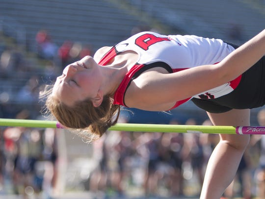 Nicole Burcon of Pinckney won the high jump by clearing