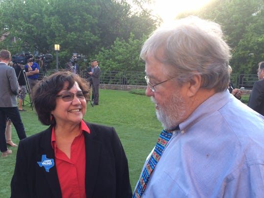 Lupe Valdez mingles at a Democratic Party event in Austin on April 14, 2018.