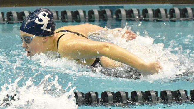 South Lyon senior Anna Smith was All-State in the 100-yard butterfly with a seventh-place time of 57.26.