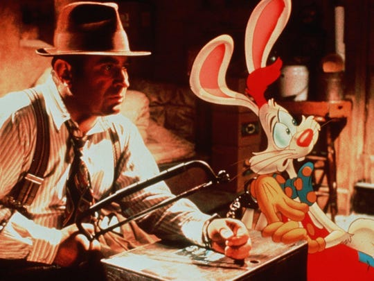 "Bob Hoskins and Roger Rabbit in a scene from the film ""Who Framed Roger Rabbit?"""