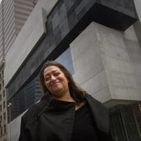 May, 2003: Internationally renowned architect Zaha Hadid is photographed in front of the Lois and Richard Rosenthal Center for Contemporary Arts days before it opened.
