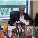 U.S. Rep. Steve King, R-Iowa, is interviewed by Sioux City TV station KCAU. He has come under fire for displaying a Confederate flag on his desk.