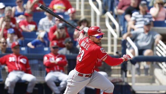 Adam Duvall had two hits, including his fourth homer of the spring, in Tuesday's victory over the Brewers.