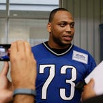 Detroit Lions Michael Williams answers questions from the media after the team's OTA practice at the Lions training facilities in Allen Park on Wednesday May 21, 2014.