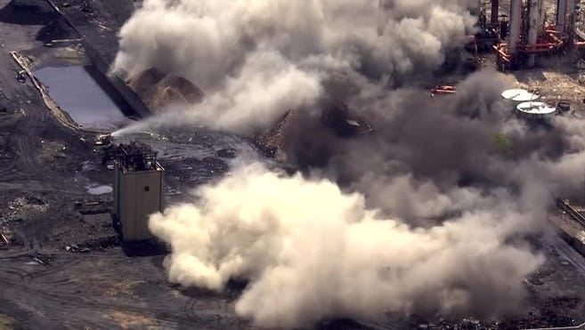 This screenshot from WTAE shows an old coke plant implosion near Pittsburgh.