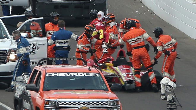 Sebastian Saavedra suffered a dislocated right foot in the crash that included Jack Hawksworth and Stefano Coletti.