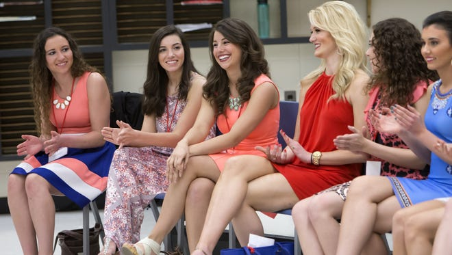 Miss Oshkosh Serena Larie, center, was picked first to choose a number of the order she wishes to compete as. Miss Wisconsin contestants met at Oshkosh West High School for a prep day for the scholarship pageant April 23. The pageant runs June 22 through 25.