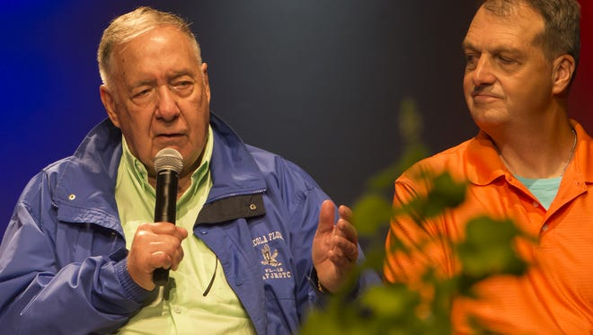 """Gen. Chuck Horner – who commanded U.S. and Allied air operations in Desert Storm and Desert Shield – was a guest of honor at an evening """"Salute to Veterans"""" Day program at Theater in the Woods during AirVenture on Friday, July 29, 2016."""