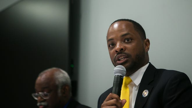 Darius J. Brown, a Delaware Democratic candidate for Senate District 2, speaks at a public debate at the Route 9 Library and Innovation Center near New Castle.