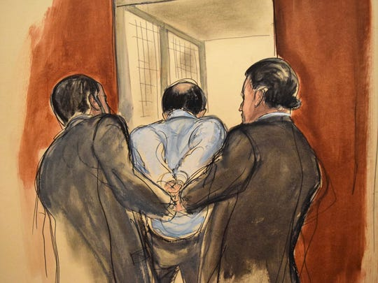 In this courtroom sketch provided by artist Elizabeth