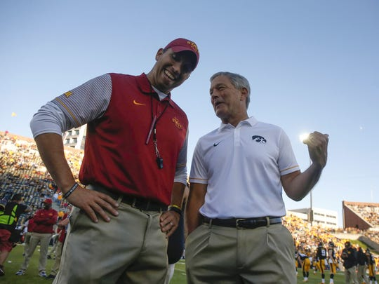 Iowa State coach Matt Campbell will square off against Iowa coach Kirk Ferentz again on Sept. 8.