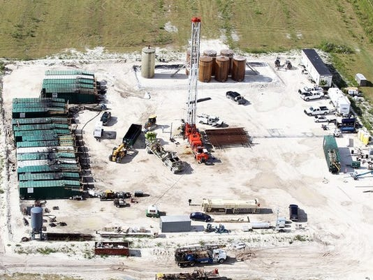 An aerial view of the Collier-Hogan well, south of Lake Trafford near Immokalee on Friday, May 16, 2014 in Naples, Florida. (Dania Maxwell/Staff)
