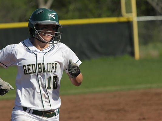 Photo by Andreas Fuhrmann/Record Searchlight Red Bluff's Bailey Akins has 10 home runs on the year and is a strong MVP candidate.