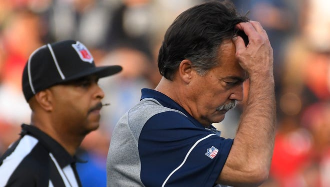 Los Angeles Rams head coach Jeff Fisher watches during the second half of an NFL football game against the Atlanta Falcons Sunday, Dec. 11, 2016, in Los Angeles. (AP Photo/Mark J. Terrill)