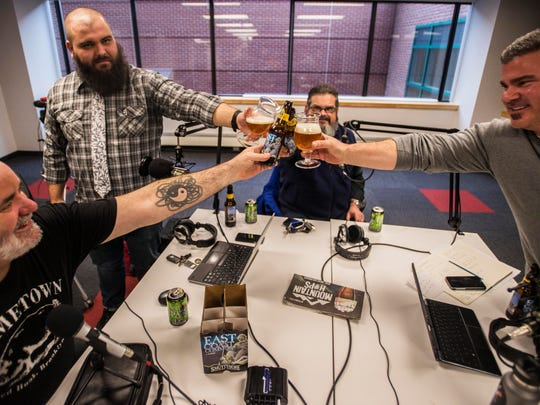 Pat Fondiller of Smuttynose Brewing Company, host Jeff Baker, Michael Saklad of Smuttynose and host Jason Strempek enjoy a pint during the recording of It's the Beer Talking episode 2.05 on January 26, 2017.