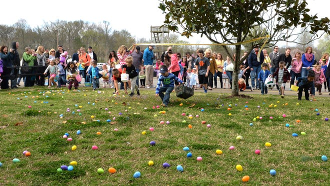 Kids get the OK and head for the eggs at the Golden Girls Pancake Breakfast and Easter Egg Hunt Saturday at Hendersonville High School.