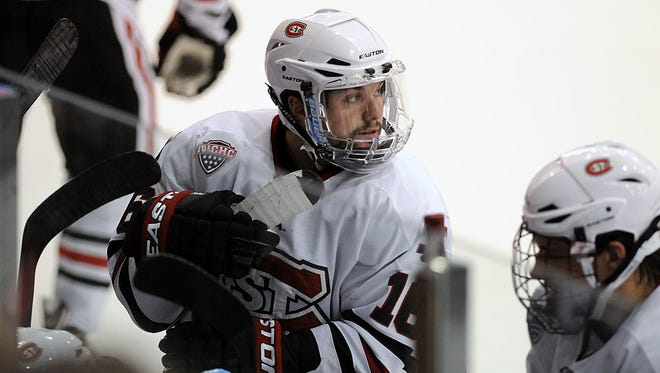 St. Cloud State's Jimmy Murray takes a break during a 2014 game at the Herb Brooks National Hockey Center in St. Cloud.