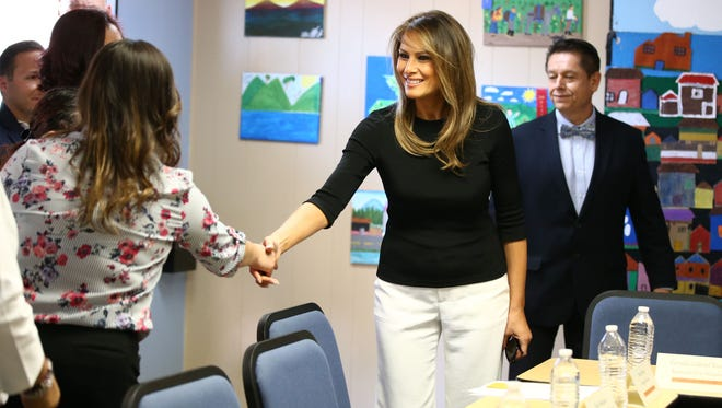 First lady Melania Trump greets staff members at Southwest Key, an immigrant holding facility, on June 28, 2018, in Phoenix.
