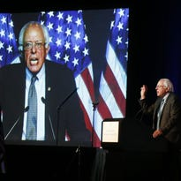 Democratic presidential candidate, Sen. Bernie Sanders, I-Vt,  addresses the summer meeting of the Democratic National Committee Aug. 28 in Minneapolis.