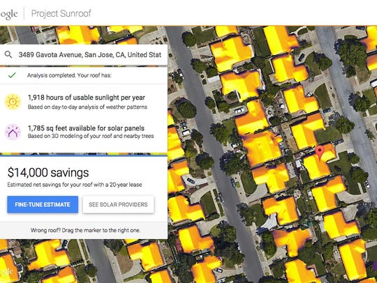 An example of Google's Project Sunroof in action.